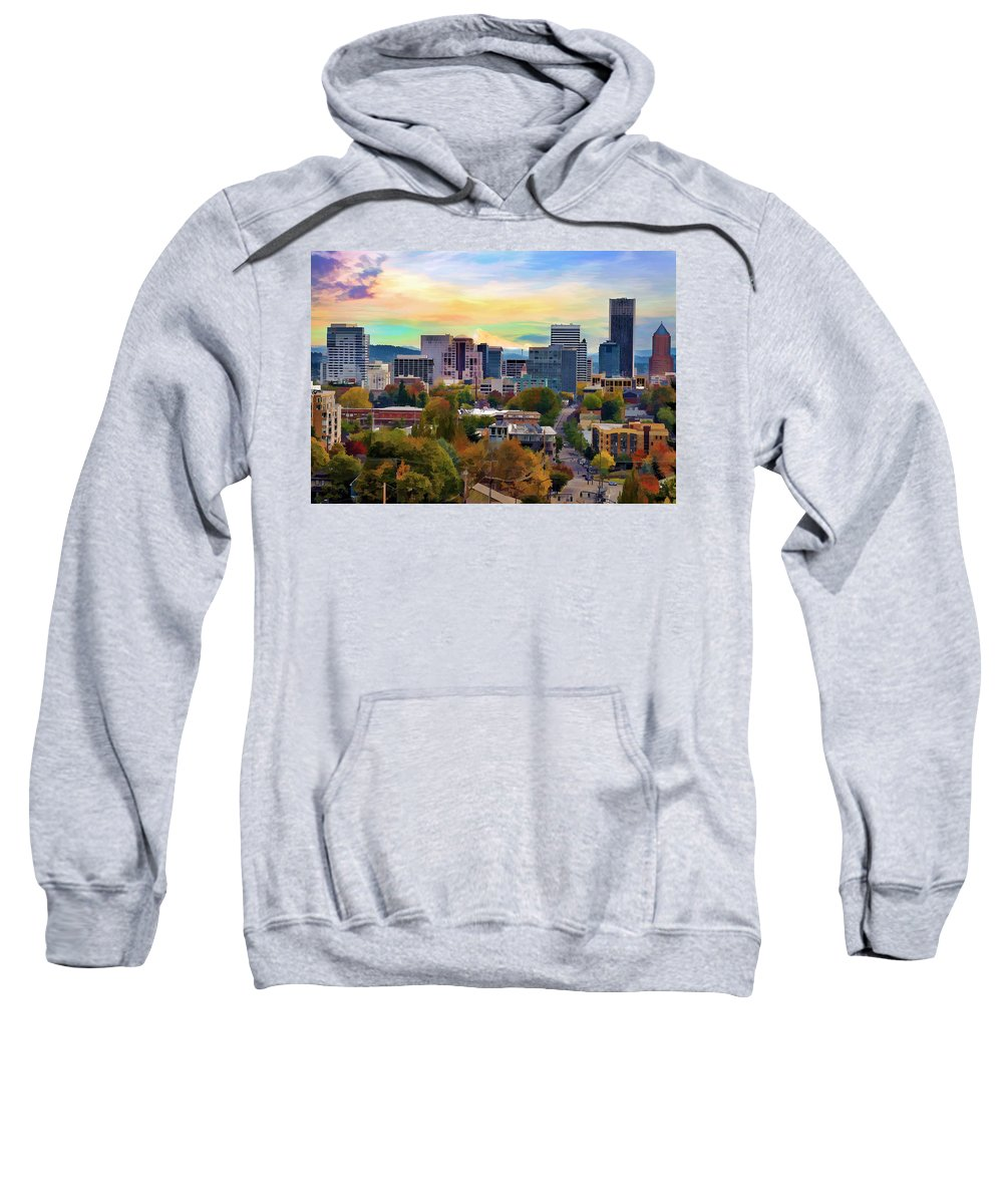 Portland Sweatshirt featuring the painting Downtown Portland Oregon At End Of Day by Elaine Plesser