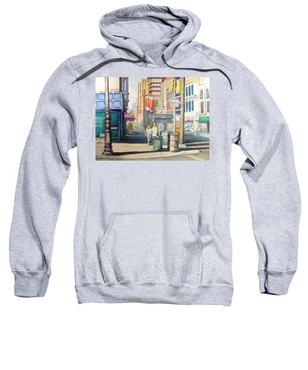 City Sweatshirt featuring the painting Downtown by Sam Sidders