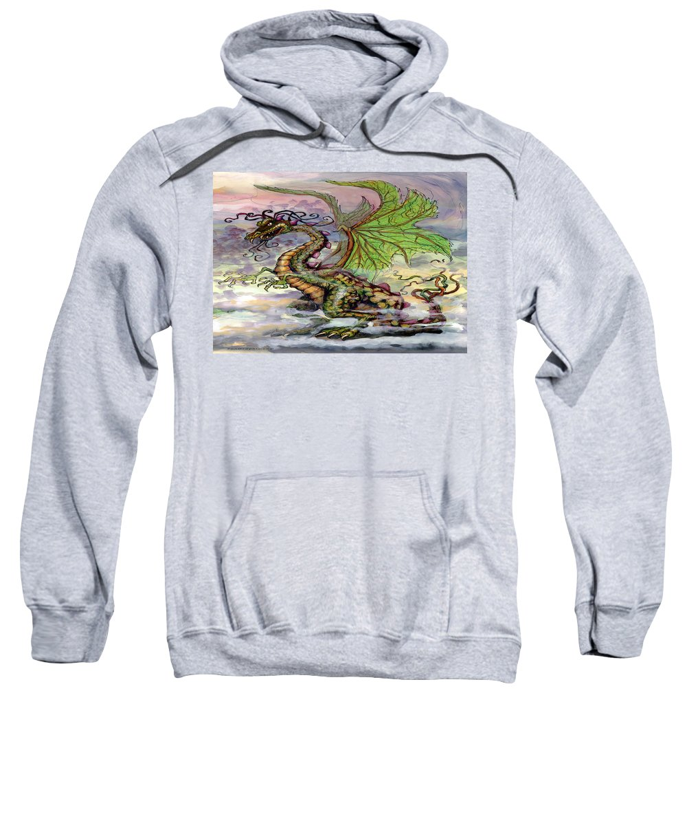 Dragon Sweatshirt featuring the painting Dragon by Kevin Middleton
