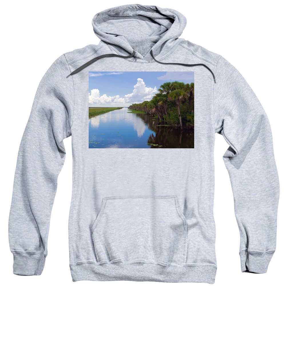 Florida; Water; Canal; Stick; Marsh; Drowned; Trees; Drown; Fellsmere; Sebastian; River; Indian; Clo Sweatshirt featuring the photograph Drainage Canals Make Farming Possible In Florida by Allan Hughes