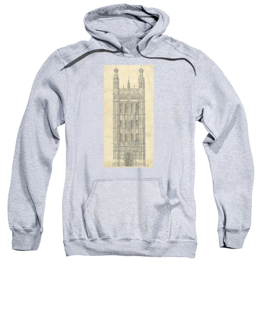 Drawing Sweatshirt featuring the drawing Drawing For The Houses Of Parliament by Sir Charles Barry