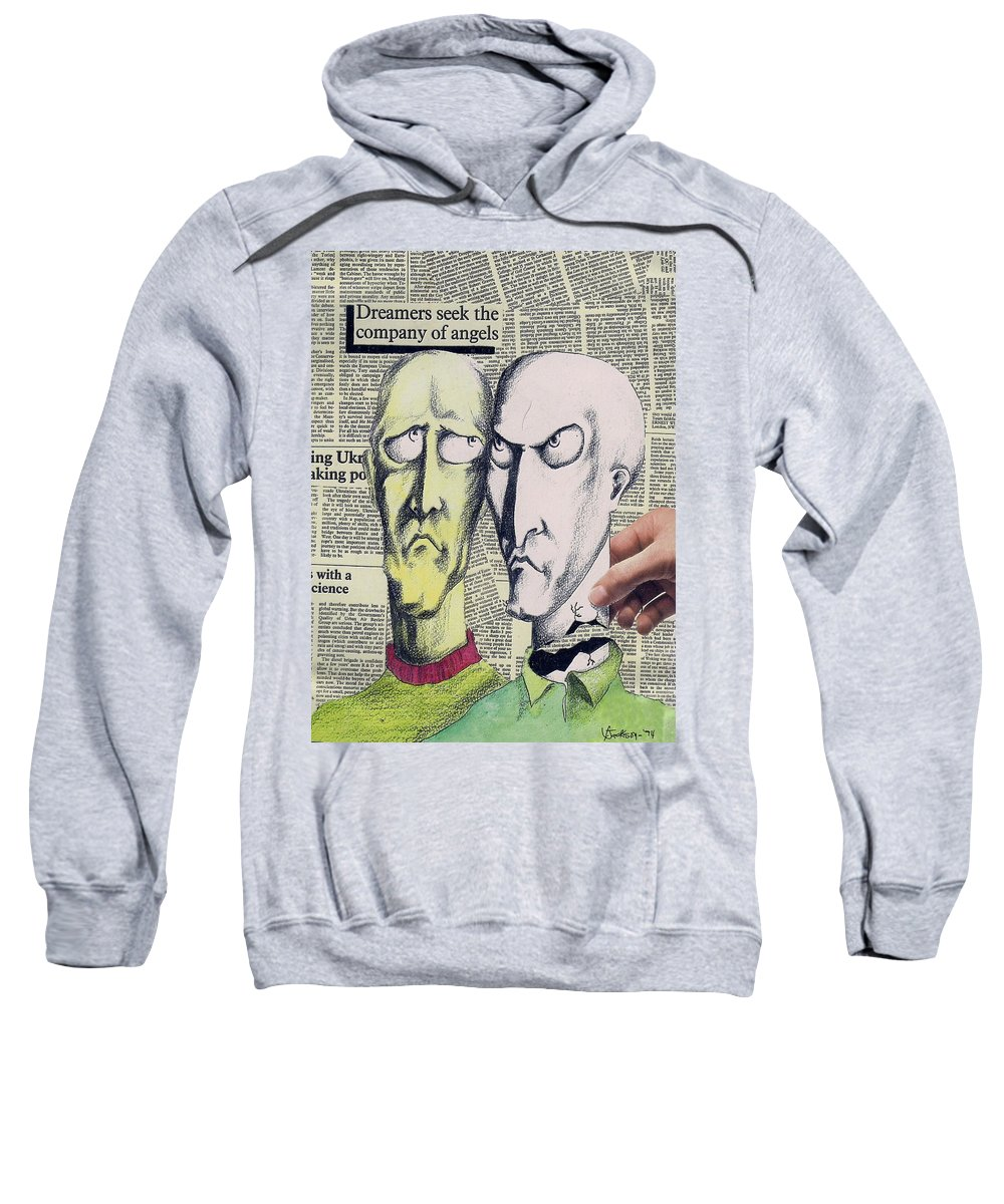 Dreamers Angels Faces Sweatshirt featuring the mixed media Dreamers by Veronica Jackson