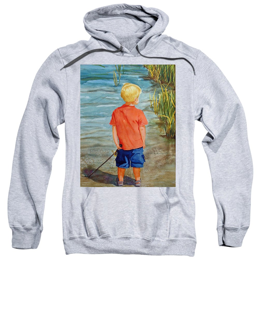 Fishing Sweatshirt featuring the painting Dreaming Of The Big One by Anna Lohse
