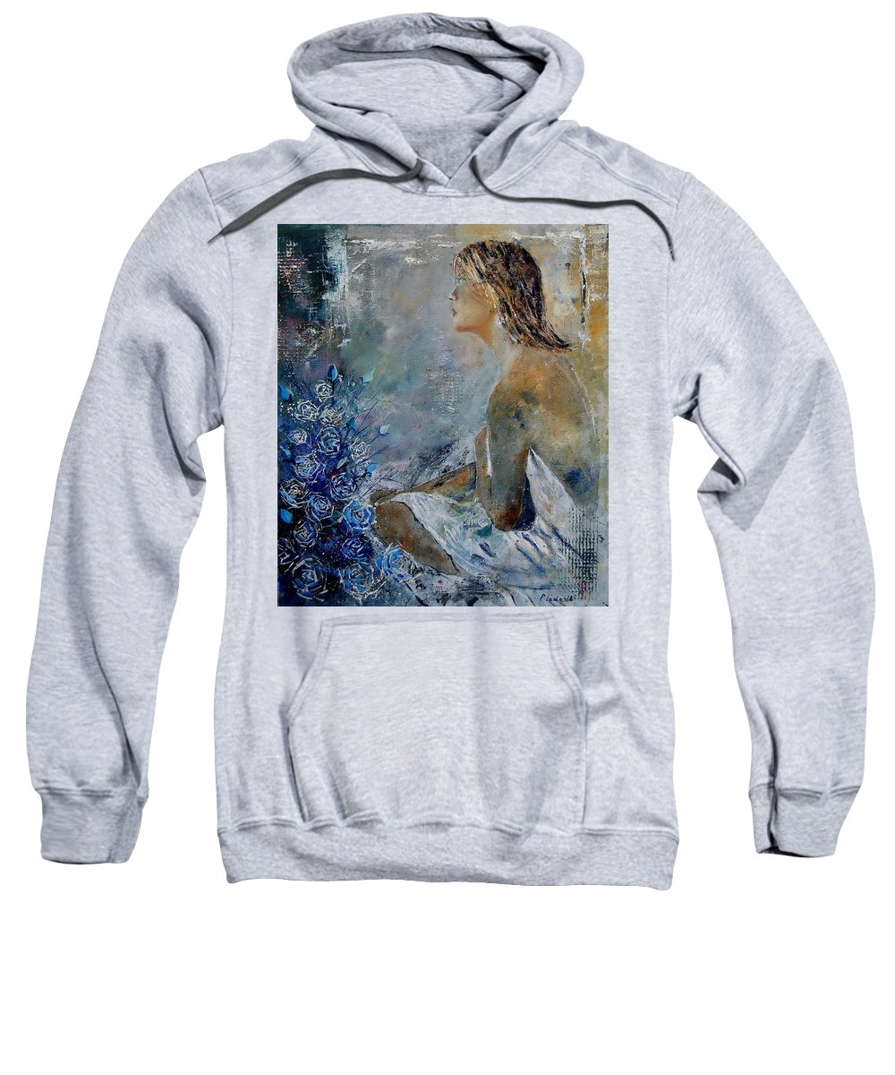 Girl Sweatshirt featuring the painting Dreaming Young Girl by Pol Ledent