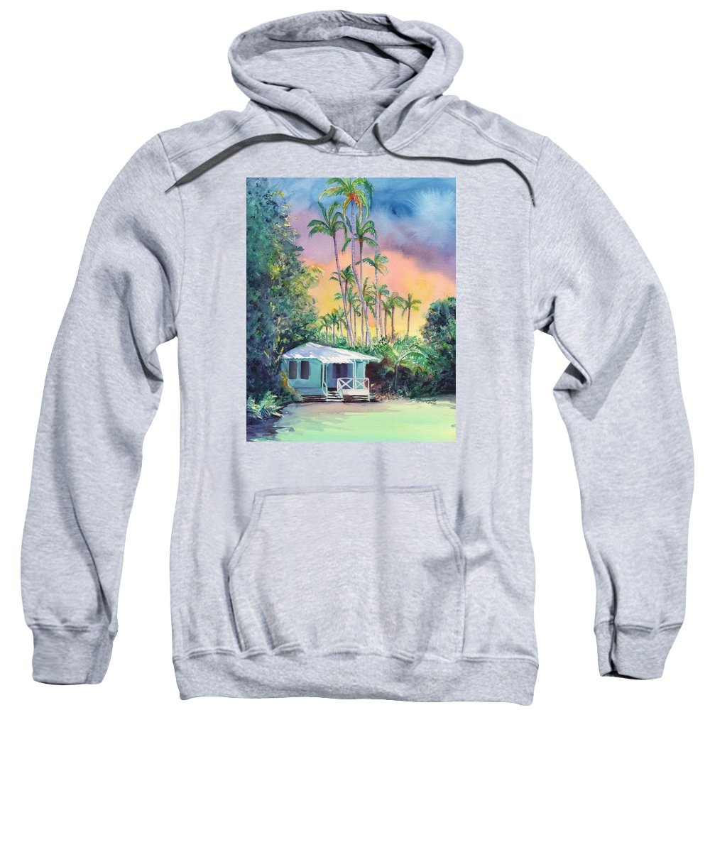Cottages Sweatshirt featuring the painting Dreams Of Kauai by Marionette Taboniar