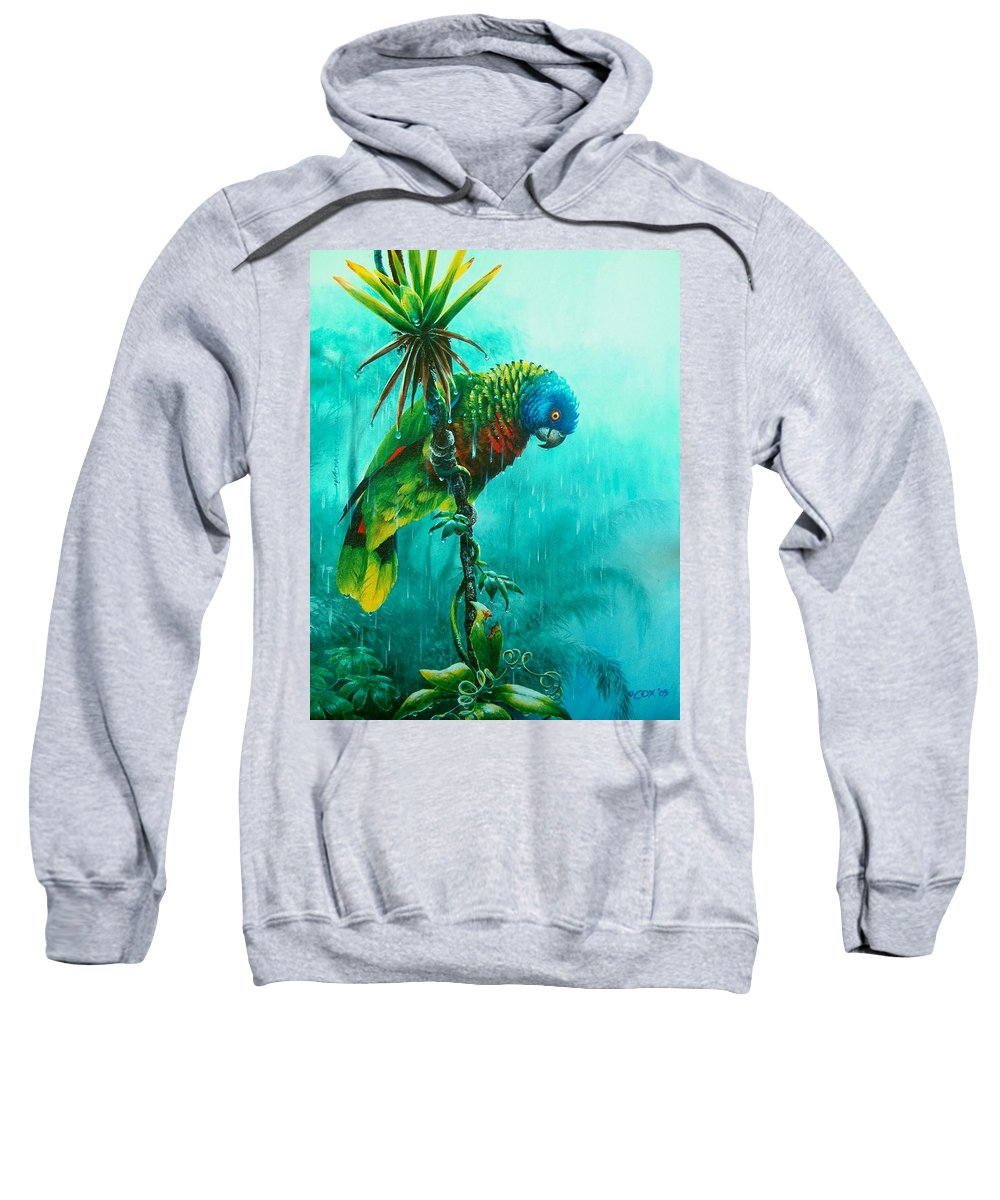 Chris Cox Sweatshirt featuring the painting Drenched - St. Lucia Parrot by Christopher Cox