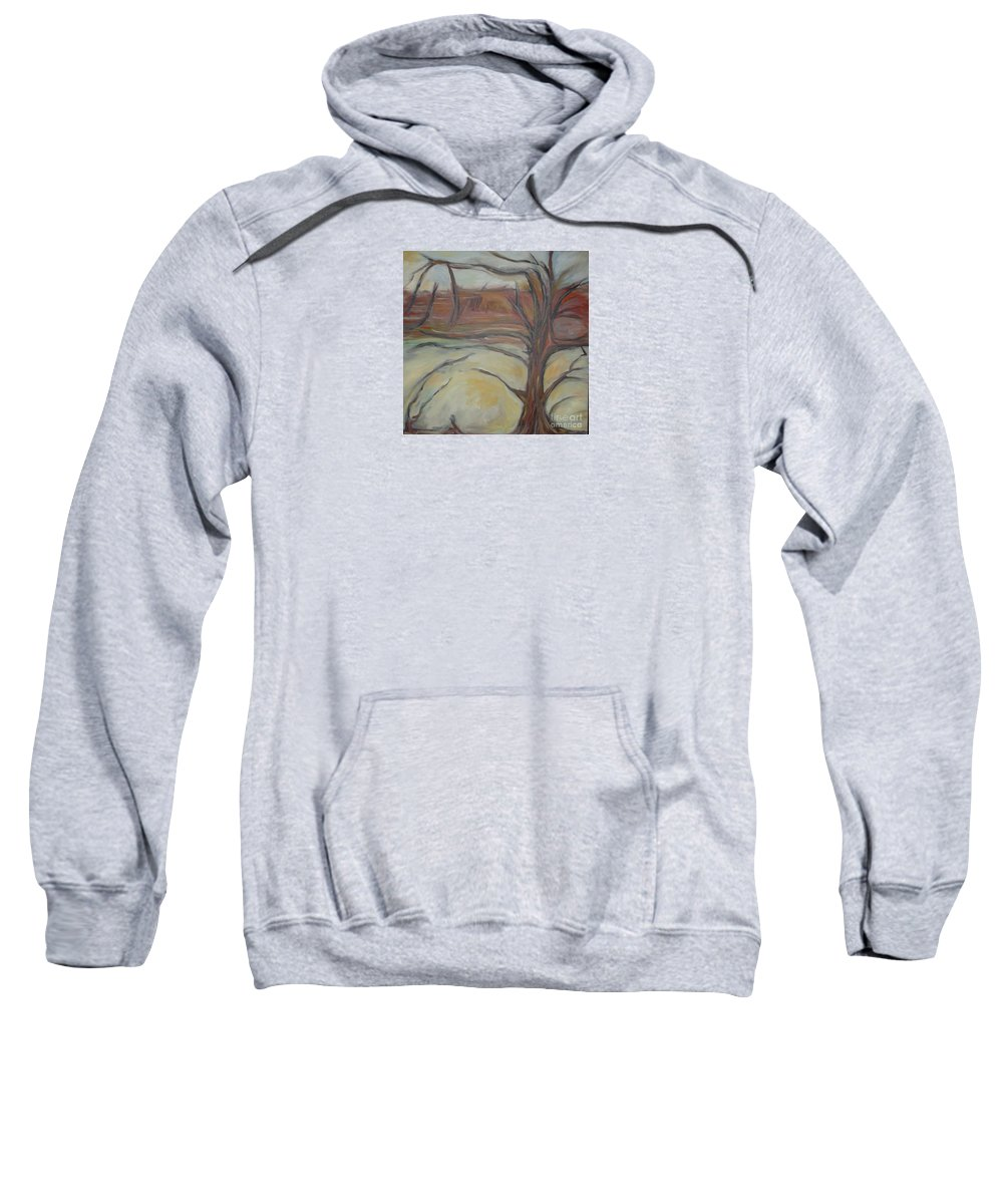 Woods Tree Abstract Original Painting Winter Sweatshirt featuring the painting Drift by Leila Atkinson