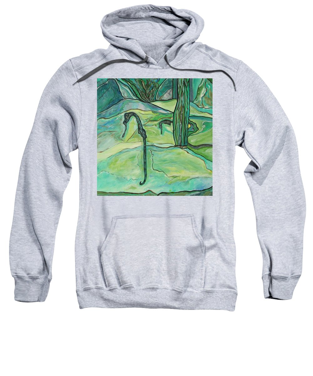 Seahorse Sweatshirt featuring the painting Drifting Seahorse by Heather Lennox