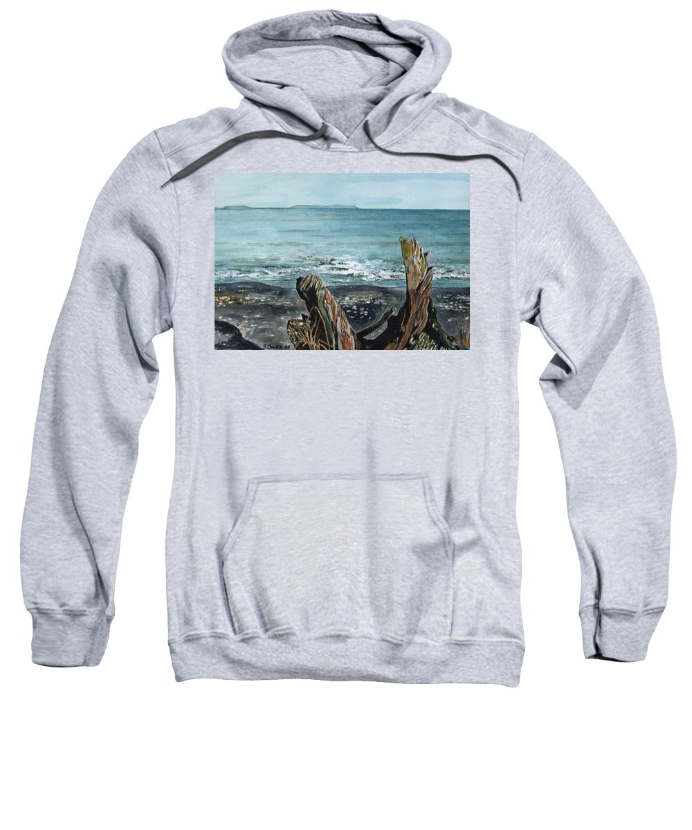 Watercolor Sweatshirt featuring the painting Driftwood by Brenda Owen