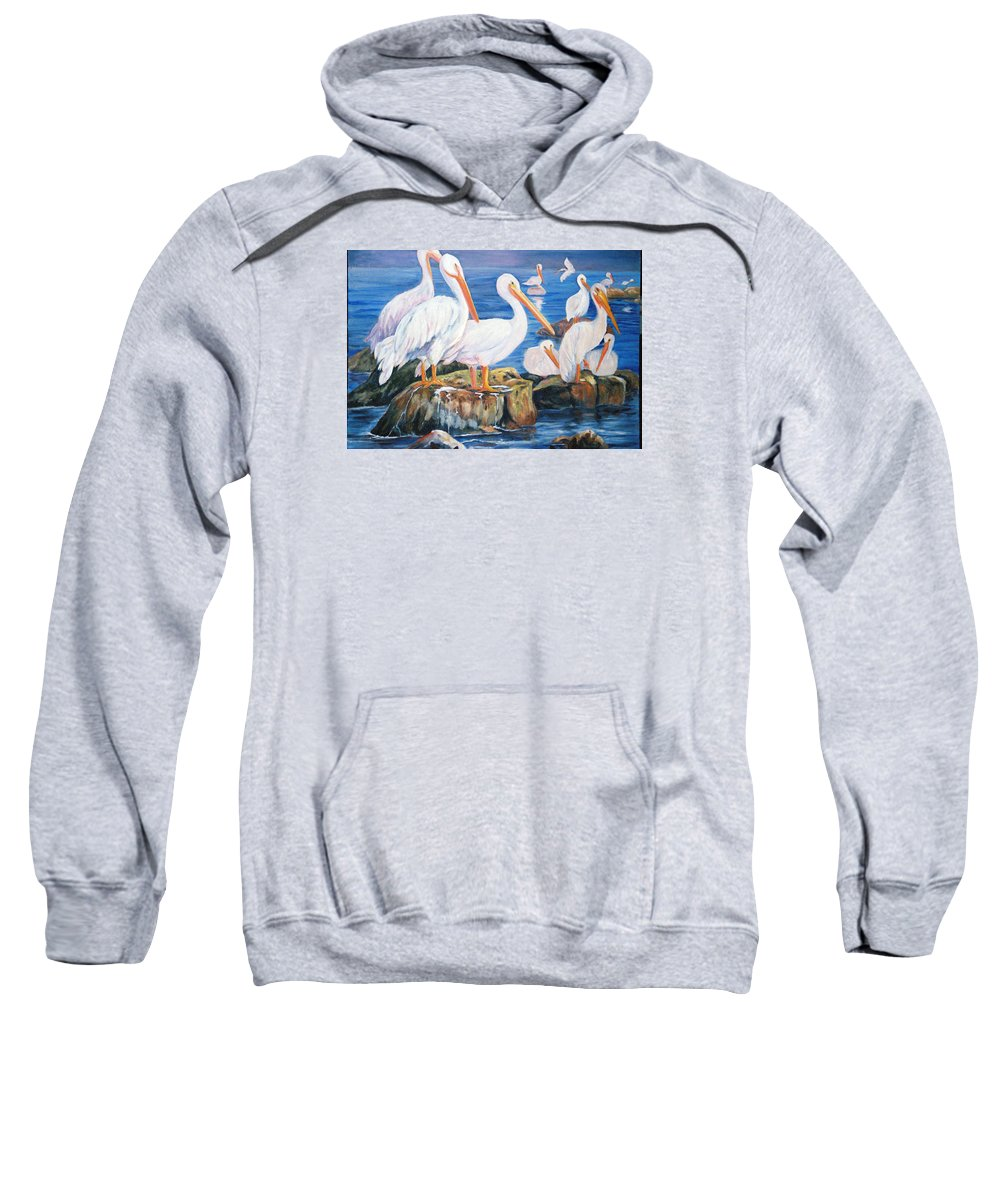 Pelicans On The Louisiana Jetties Sweatshirt featuring the painting Drippin Wet by Anne Dentler