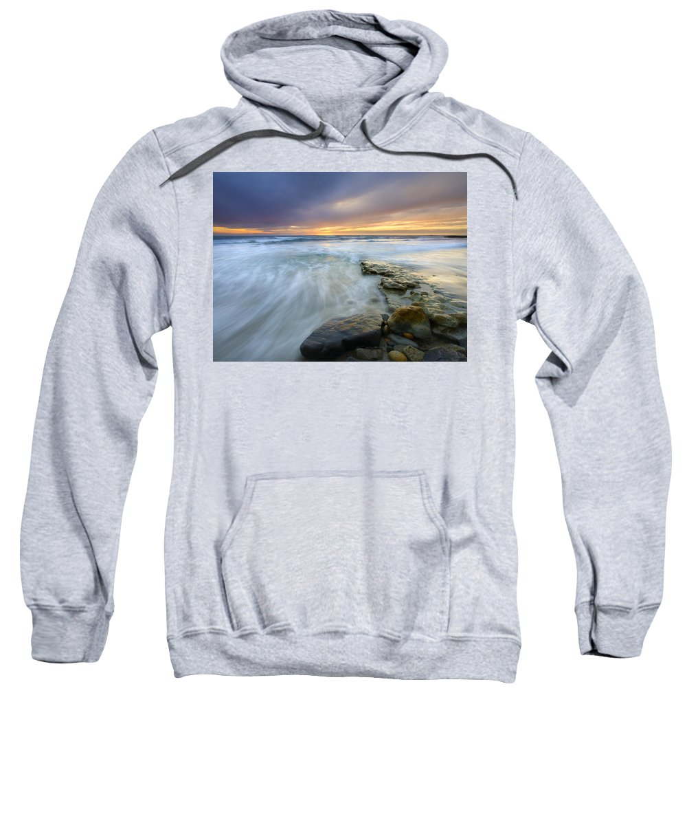 Rocks Sweatshirt featuring the photograph Driven Before The Storm by Mike Dawson