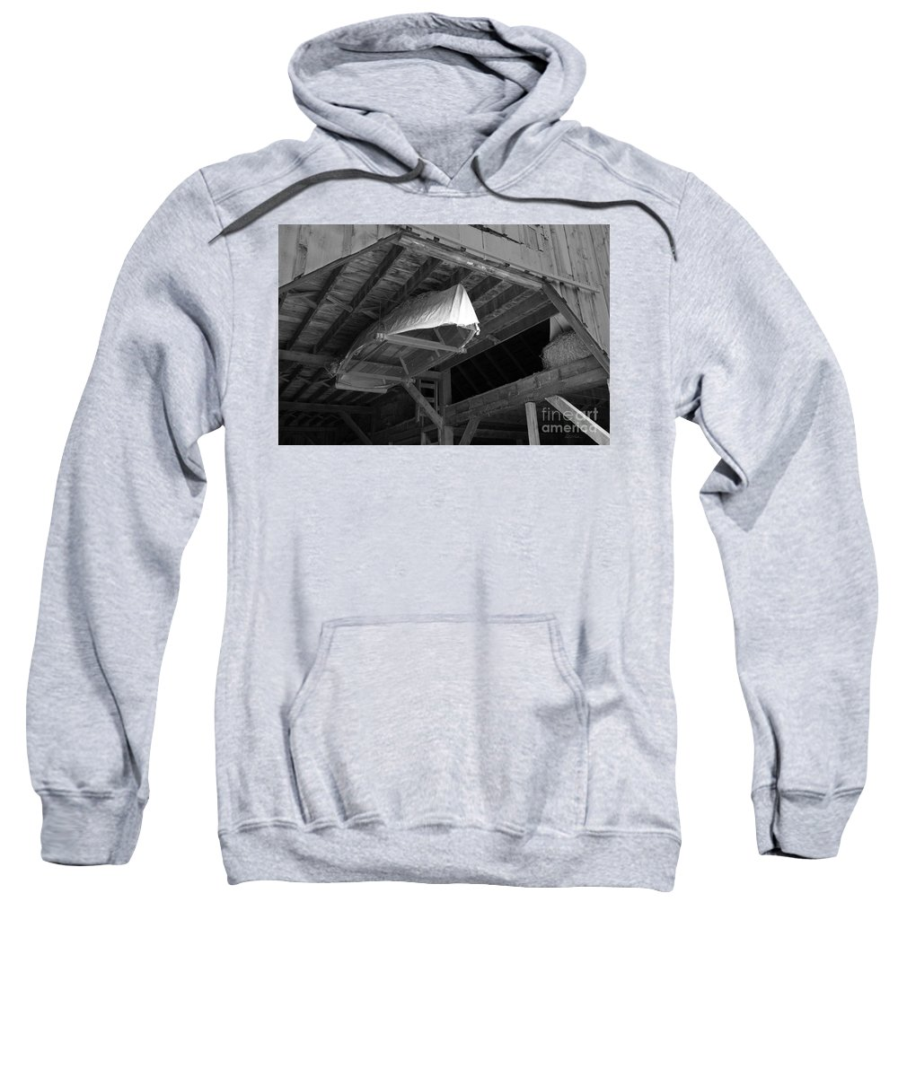 Littleton Historical Museum Dry Dock Wooden Boat Rafters Barn B&w Black And White Sweatshirt featuring the photograph Dry Dock by Carl Paulson