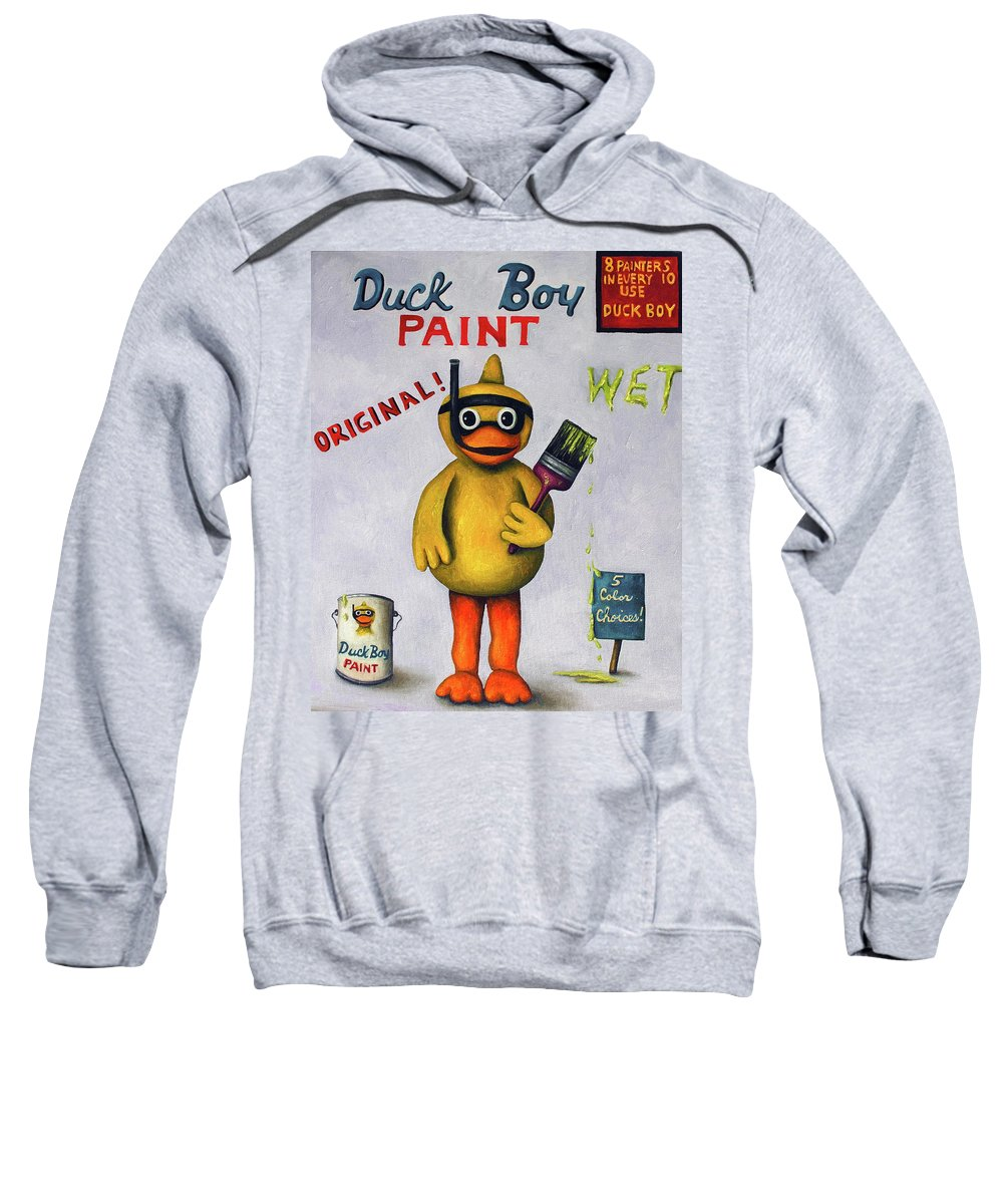 Duck Sweatshirt featuring the painting Duck Boy by Leah Saulnier The Painting Maniac