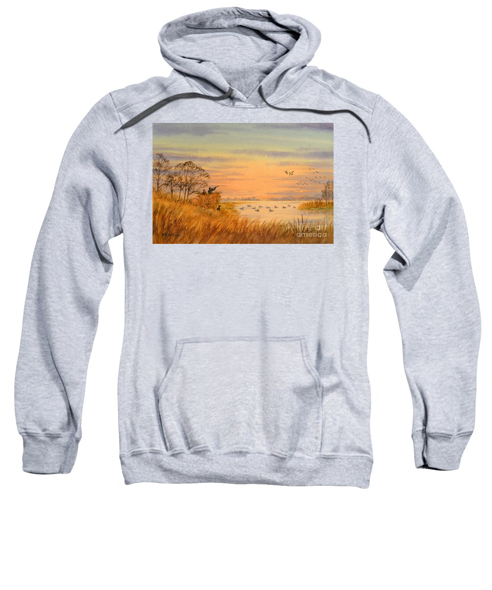 Duck Hunting Sweatshirt featuring the painting Duck Hunting Calls by Bill Holkham