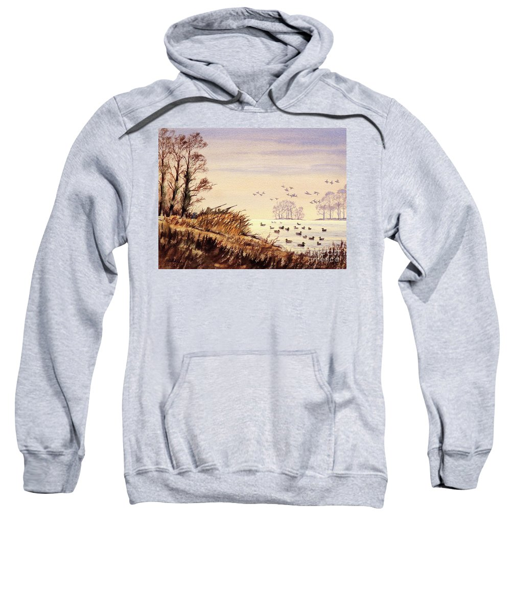 Duck Hunting Sweatshirt featuring the painting Duck Hunting Times by Bill Holkham