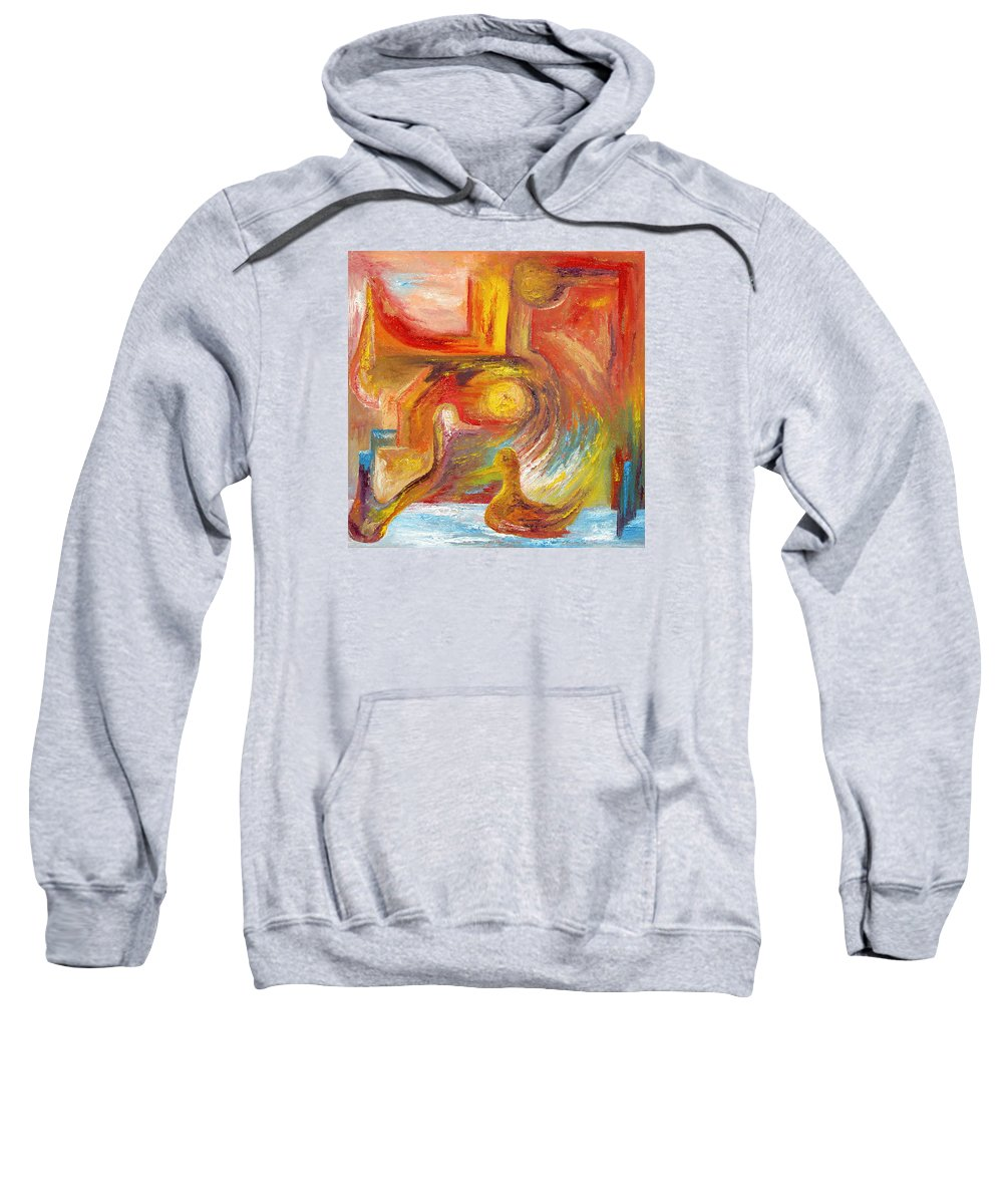 Duck Sweatshirt featuring the painting Duck The Alchemist by Karina Ishkhanova
