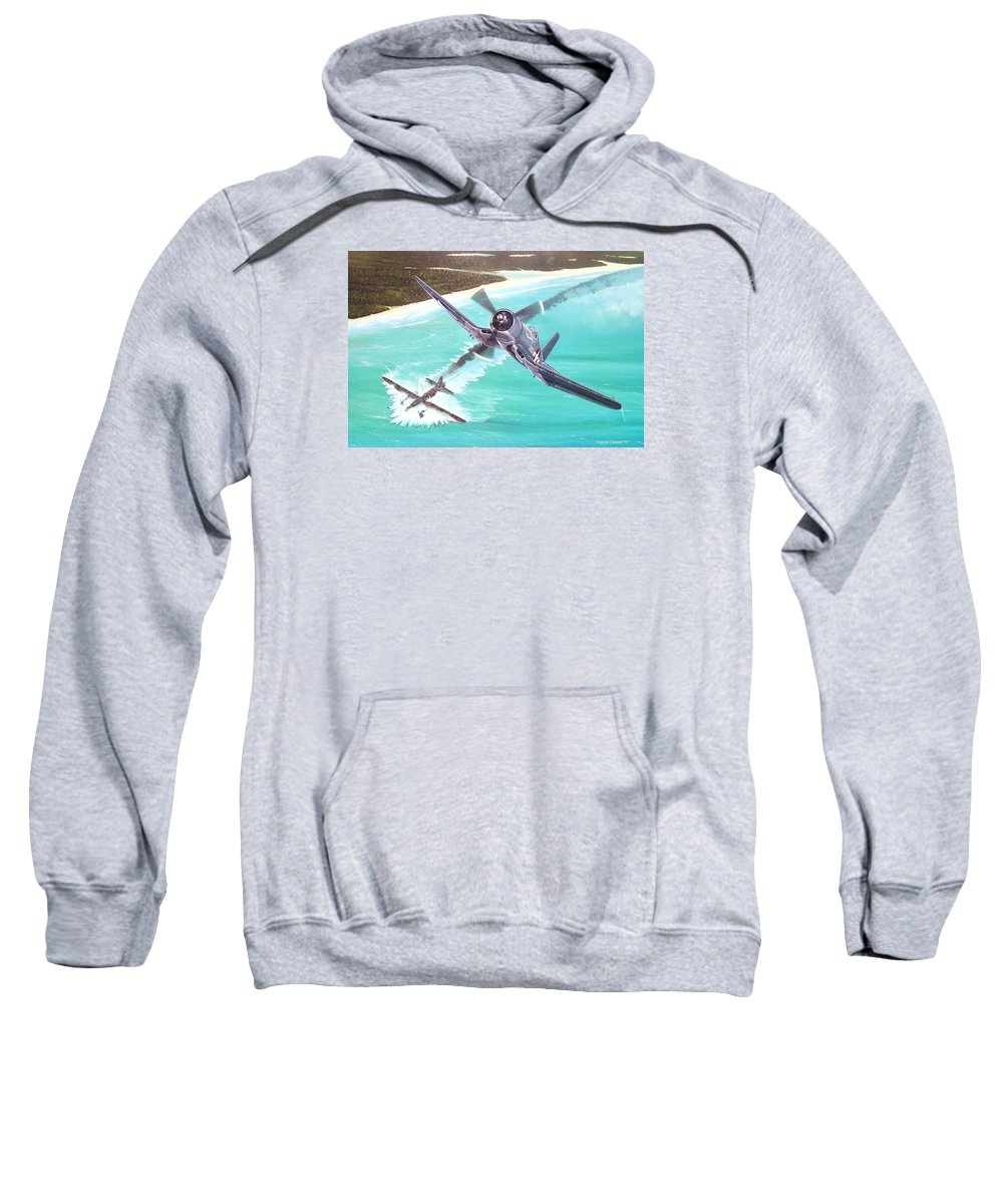 Military Sweatshirt featuring the painting Duel Over New Georgia by Marc Stewart