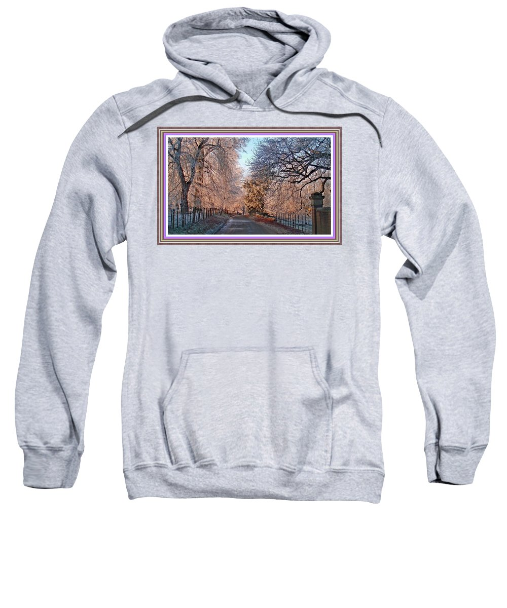 Winter Sweatshirt featuring the painting Dundalk Avenue In Winter. L B With Decorative Ornate Printed Frame. by Gert J Rheeders