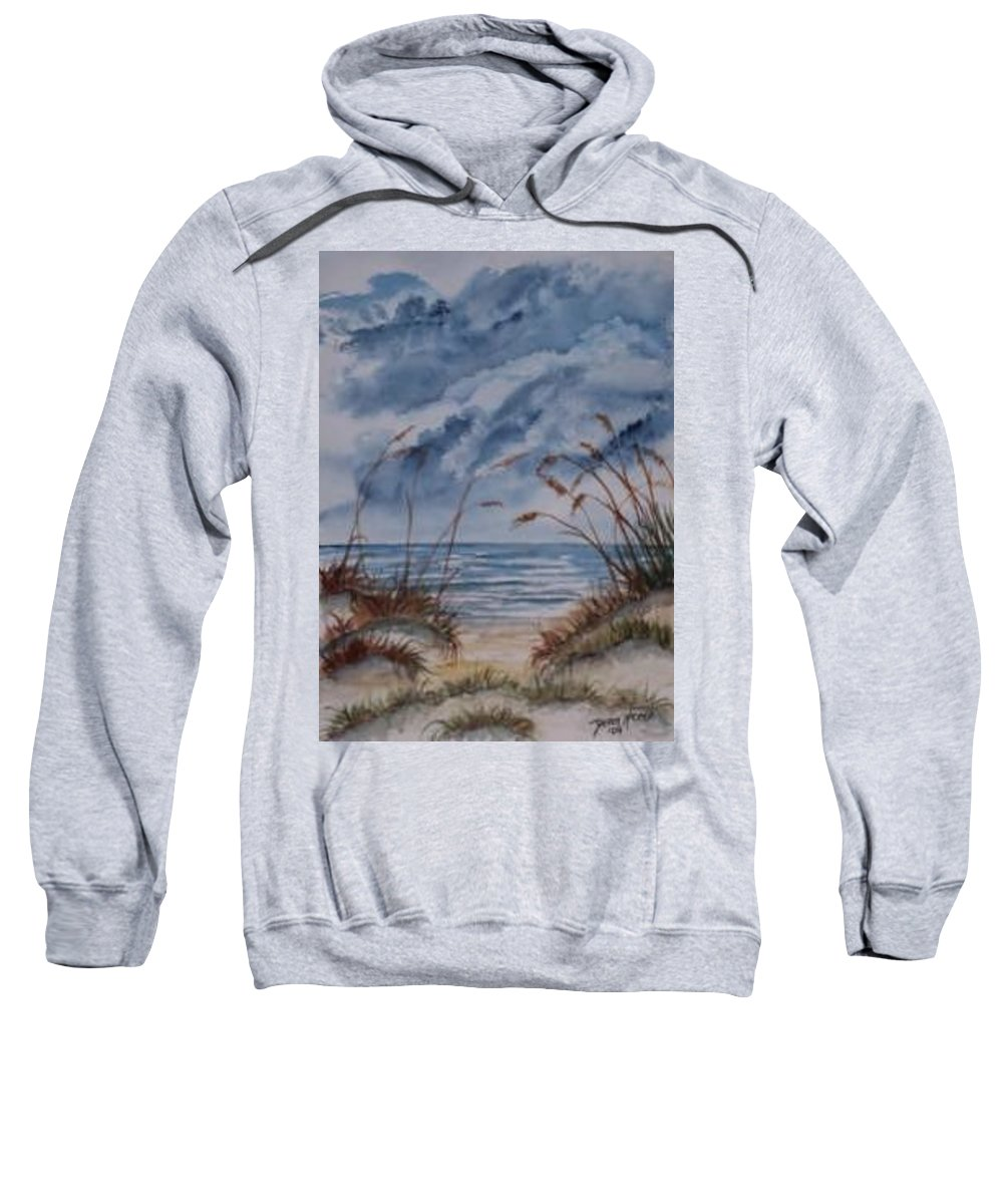 Watercolor Landscape Painting Seascape Beach Sweatshirt featuring the painting Dunes Seascape Fine Art Poster Print Seascape by Derek Mccrea