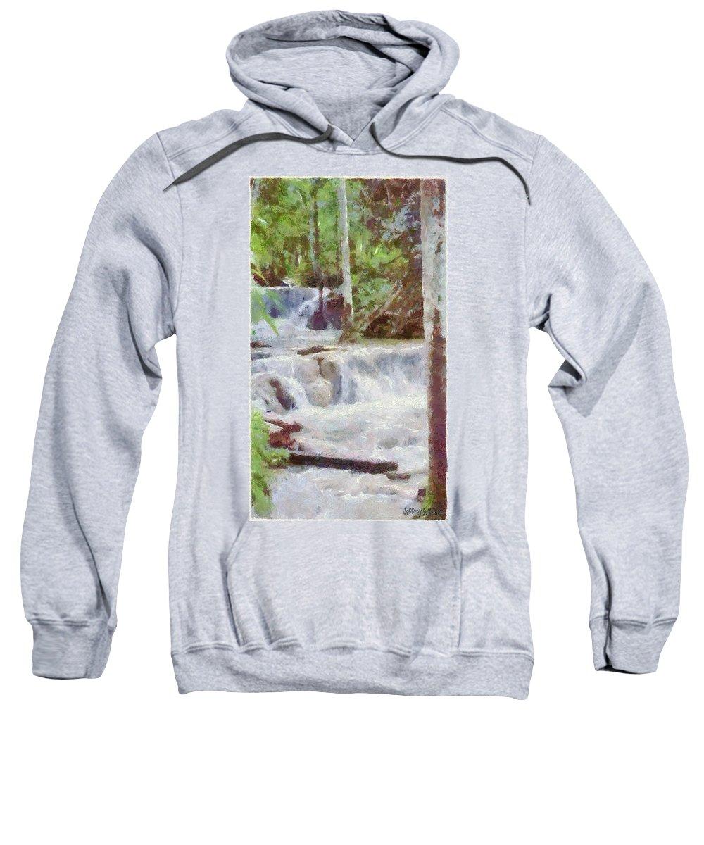 Dunn River Sweatshirt featuring the painting Dunn River Falls by Jeffrey Kolker