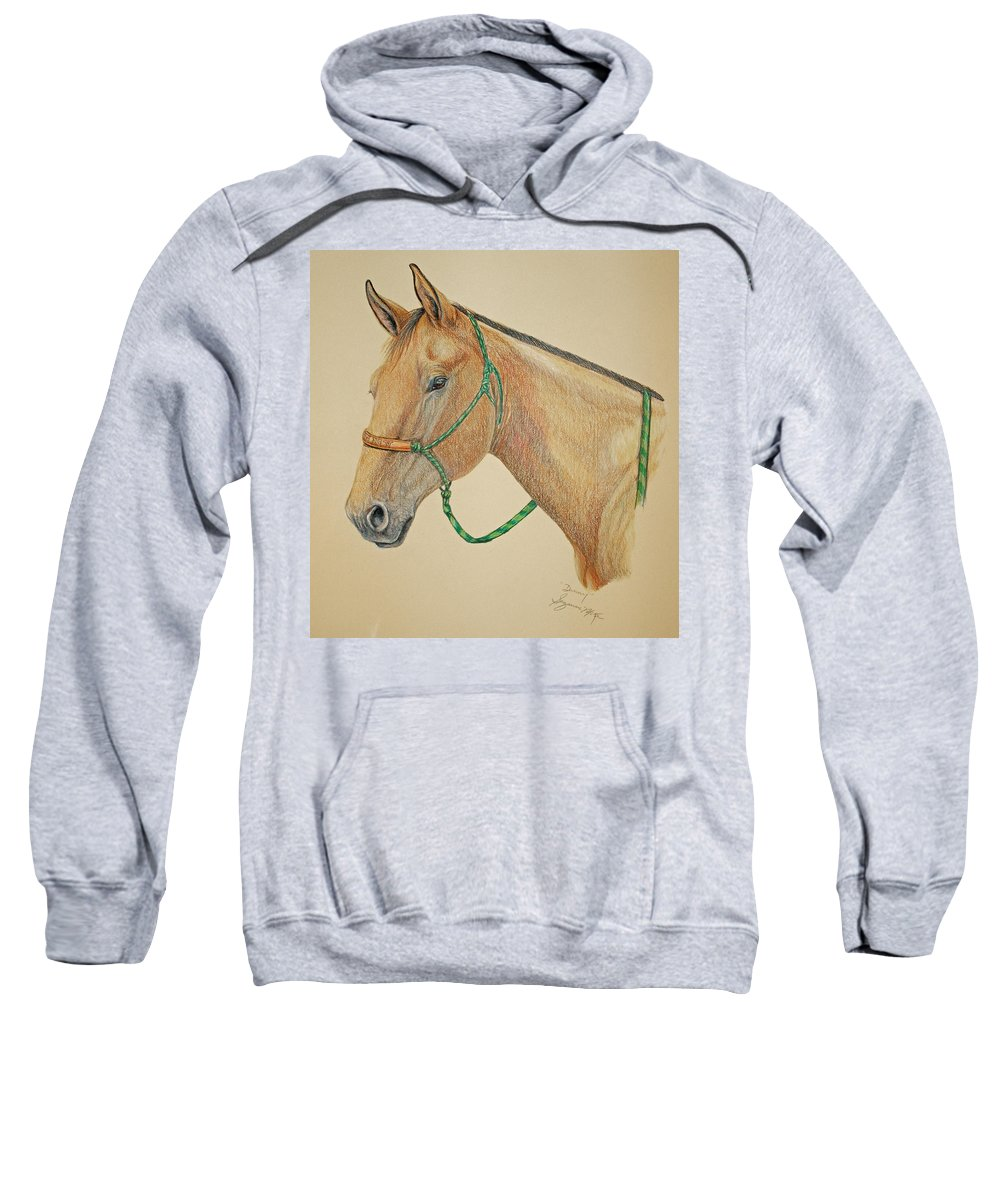Equine Sweatshirt featuring the drawing Dunny by Suzanne McKee