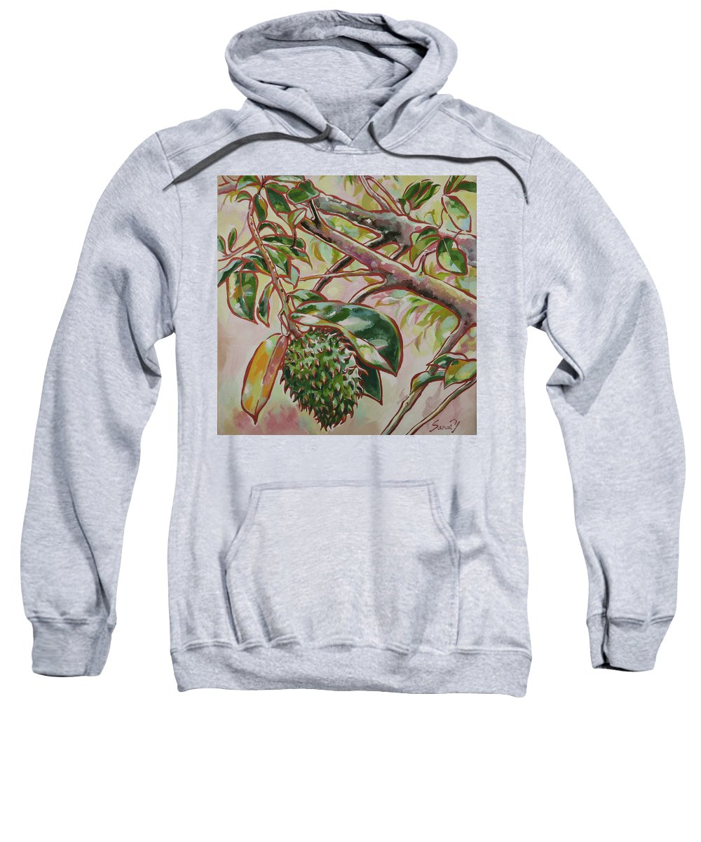 Durian Belanda Sweatshirt featuring the painting Durian Belanda by Sanae Yamada