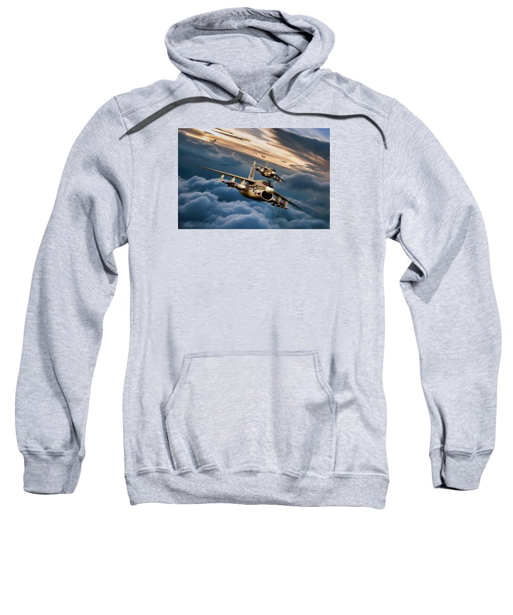 Aviation Sweatshirt featuring the digital art Dusk Delivery Corsair II by Peter Chilelli