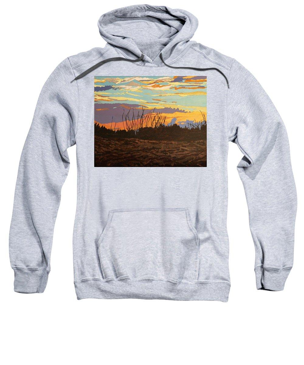 Sunset Sweatshirt featuring the painting Dusk Fishing, Hutchinson Island by Leah Tomaino