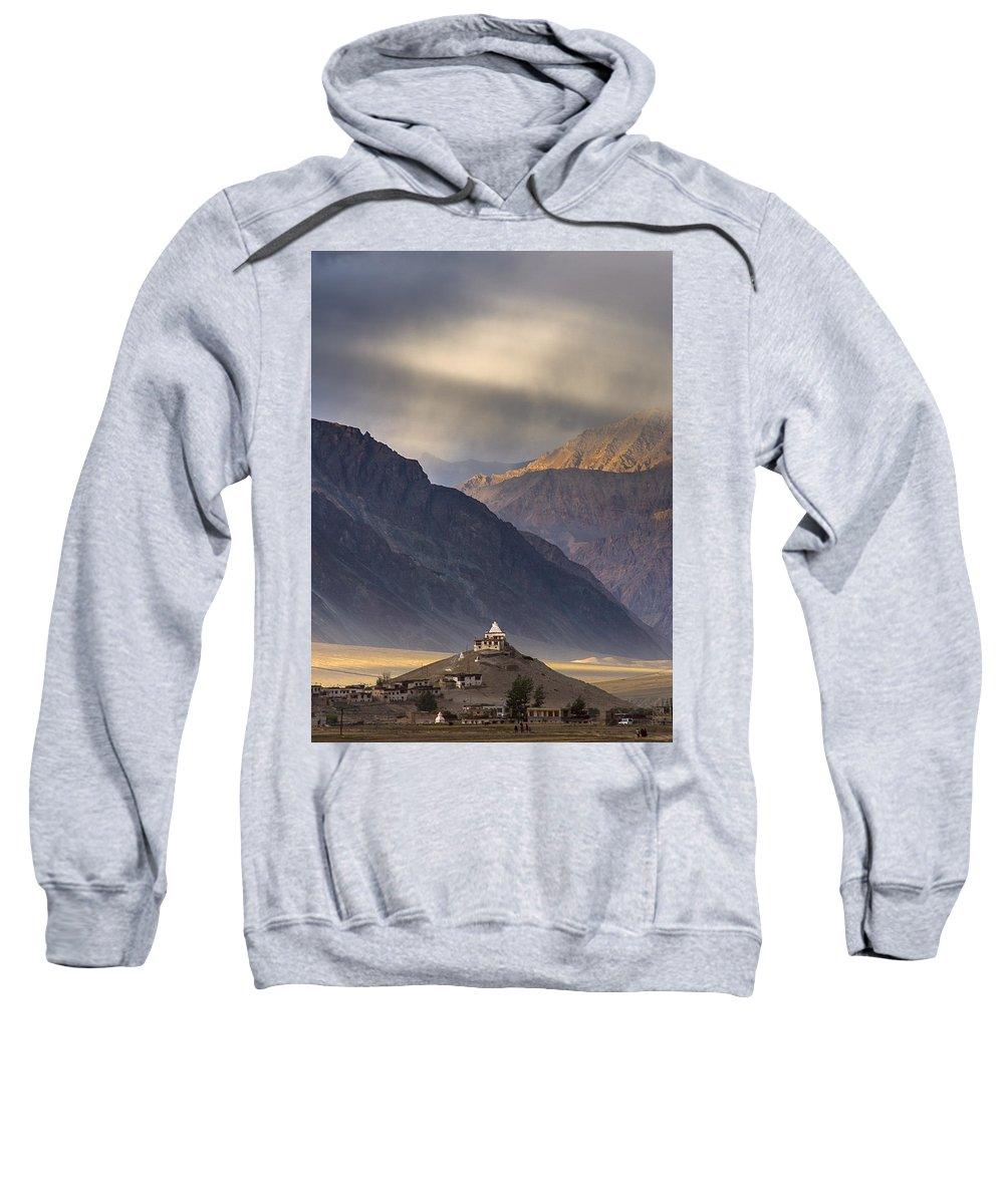 Zanskar Sweatshirt featuring the photograph Dusty Evening, Padum, 2006 by Hitendra SINKAR