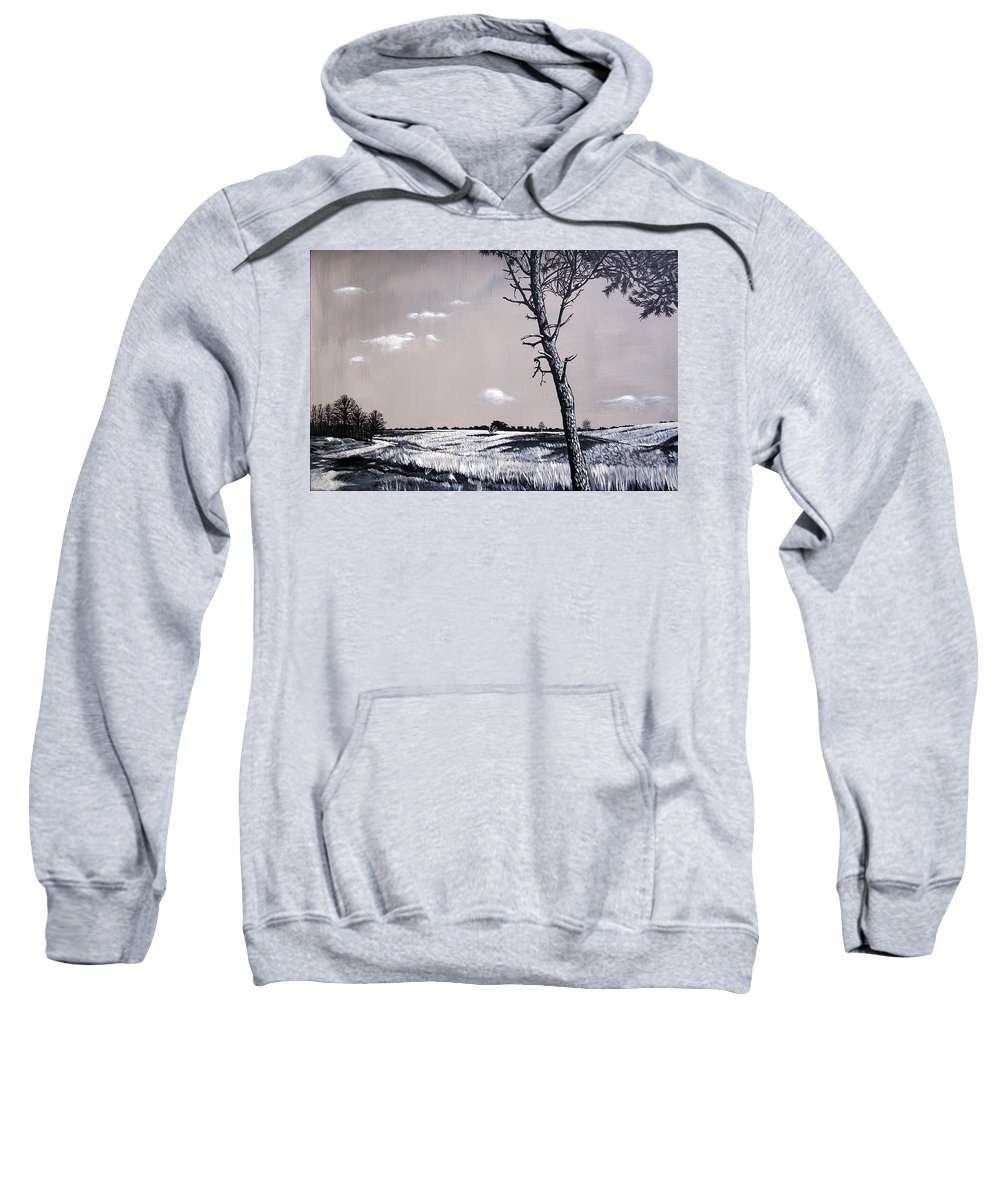 Duotone Sweatshirt featuring the painting Dutch Heathland by Arie Van der Wijst