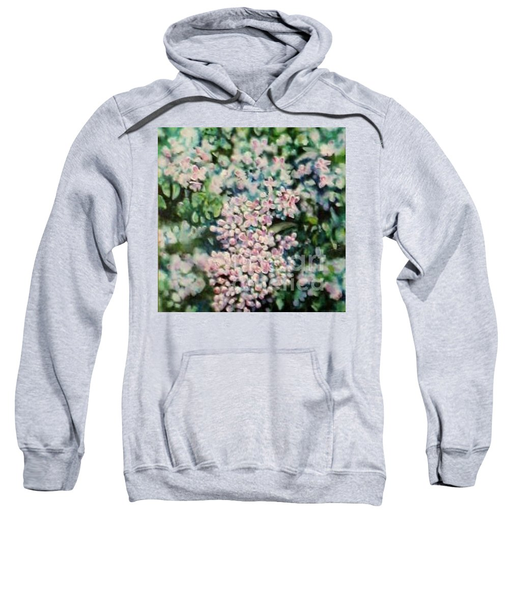 Lilacs Sweatshirt featuring the painting Dwarf Korean Lilac by Karen Sloan