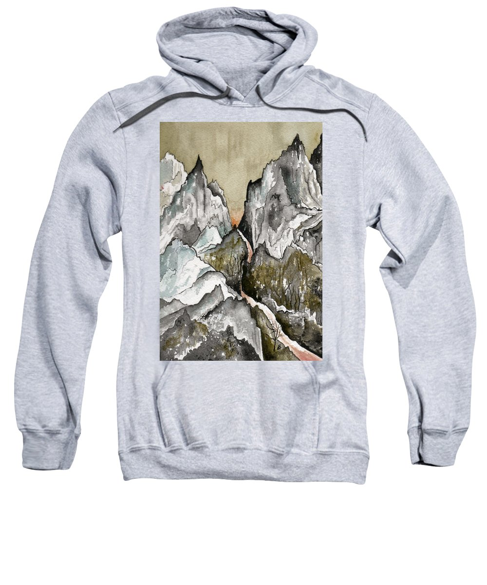 Landscape Sweatshirt featuring the painting Dwimorberg   The Haunted Mountain by Brenda Owen