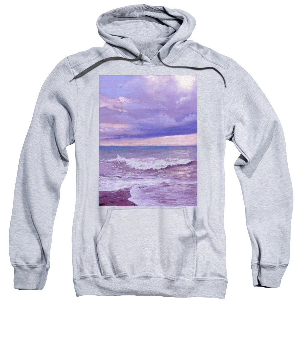 Sea Sweatshirt featuring the painting e-Motion by Arie Van der Wijst