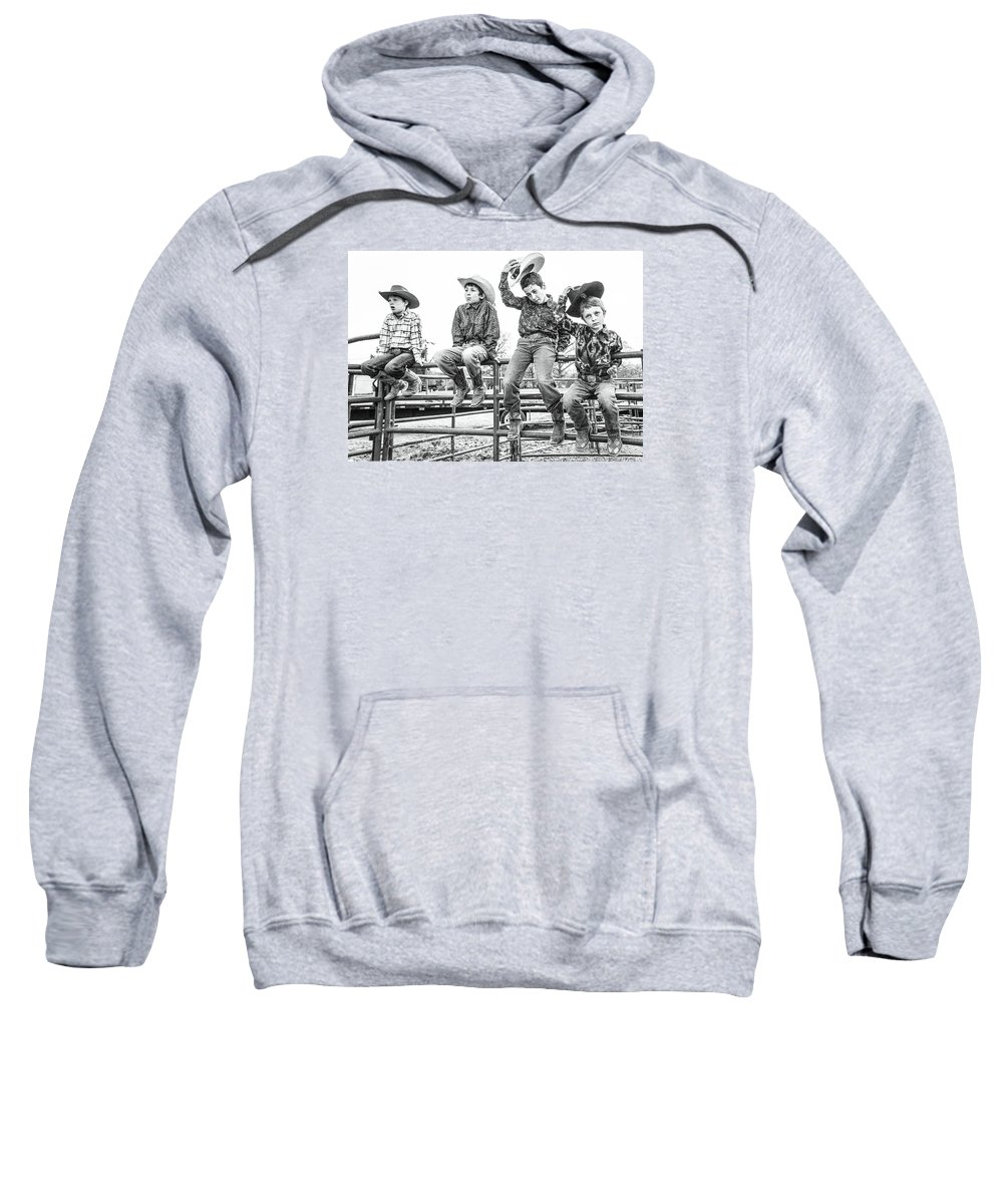 Orange & Blue Rodeo Sweatshirt featuring the photograph E by Terry Brown
