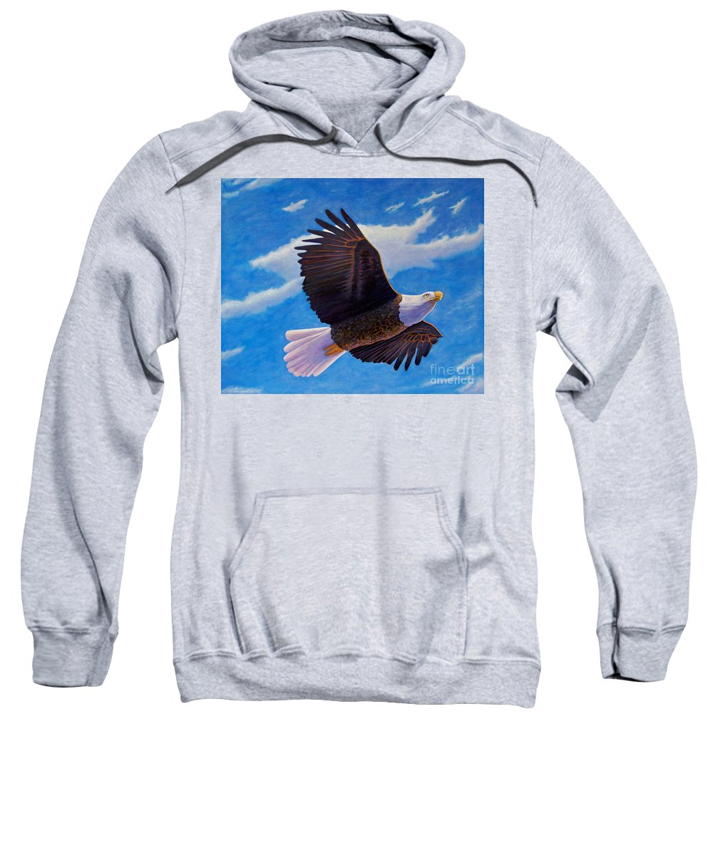 Eagle Sweatshirt featuring the painting Eagle Heart II by Brian Commerford
