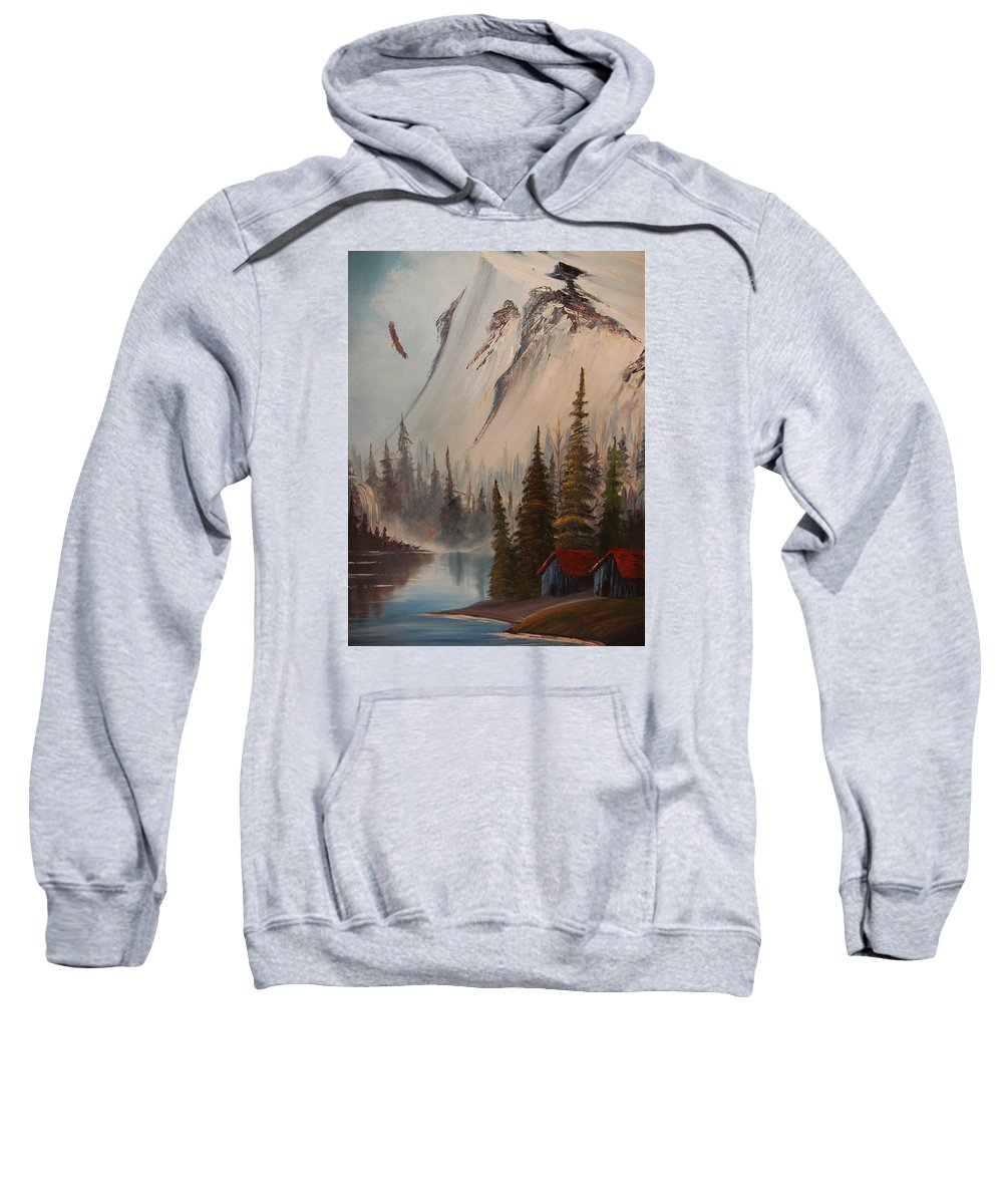 Mountains Landscape With Eagle And Stream Sweatshirt featuring the painting Eagle Mountain by Scott Easom