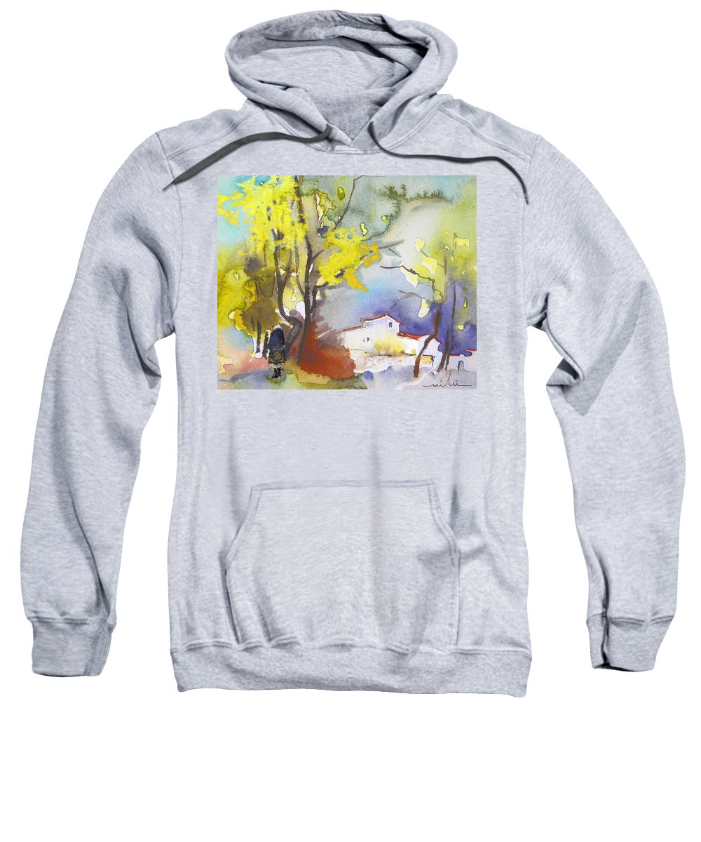 Watercolour Sweatshirt featuring the painting Early Morning 09 by Miki De Goodaboom
