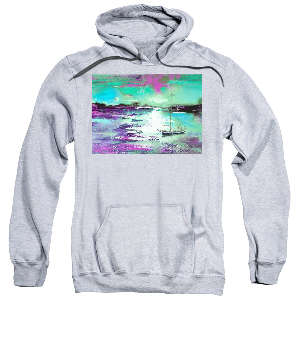 Landscapes Sweatshirt featuring the painting Early Morning 20 by Miki De Goodaboom