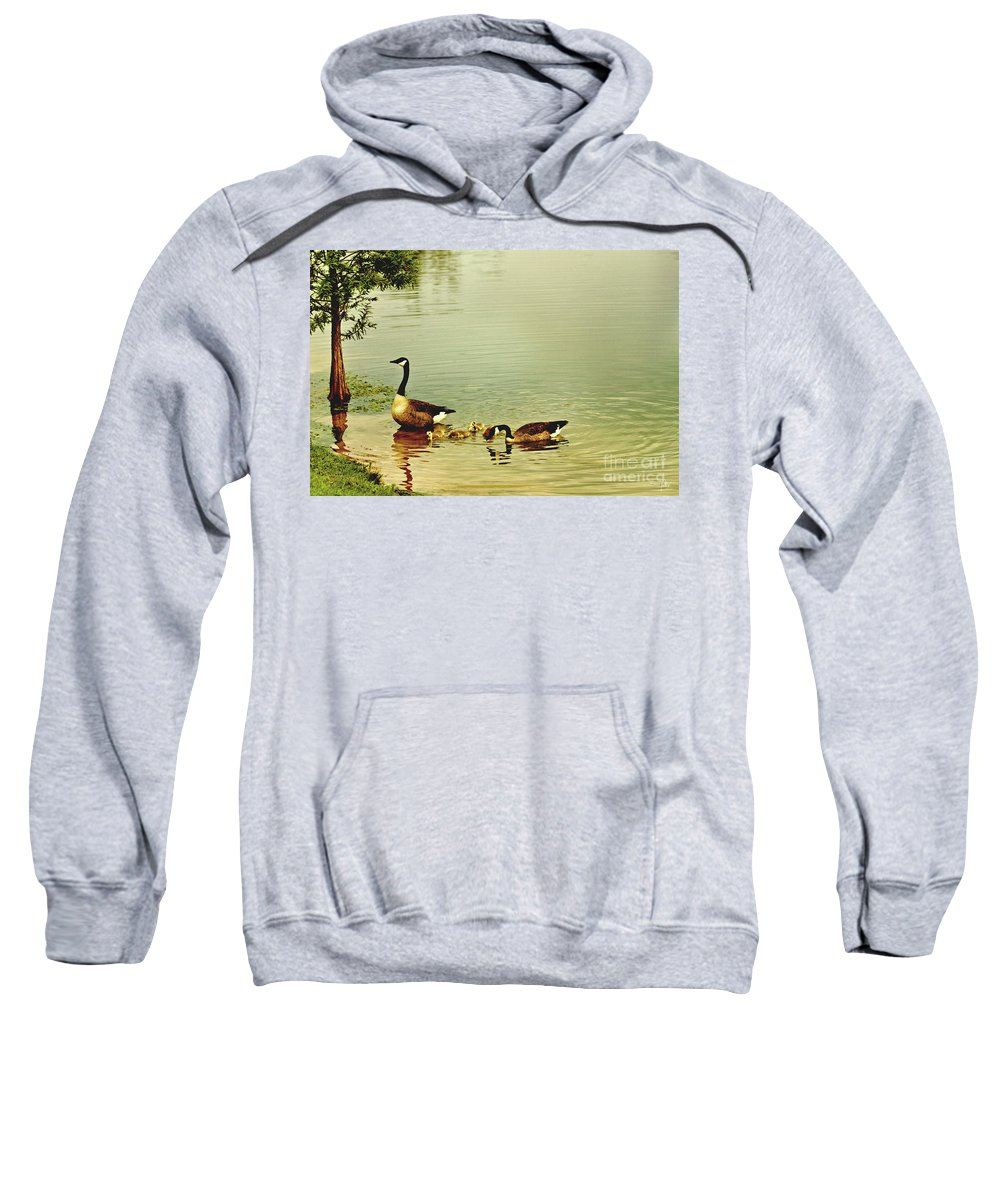 Geese Sweatshirt featuring the photograph Early Morning Lessons by Scott Pellegrin