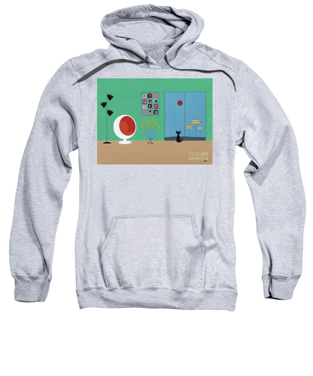 Sweatshirt featuring the digital art Early Painting Mid Century Room by Donna Mibus