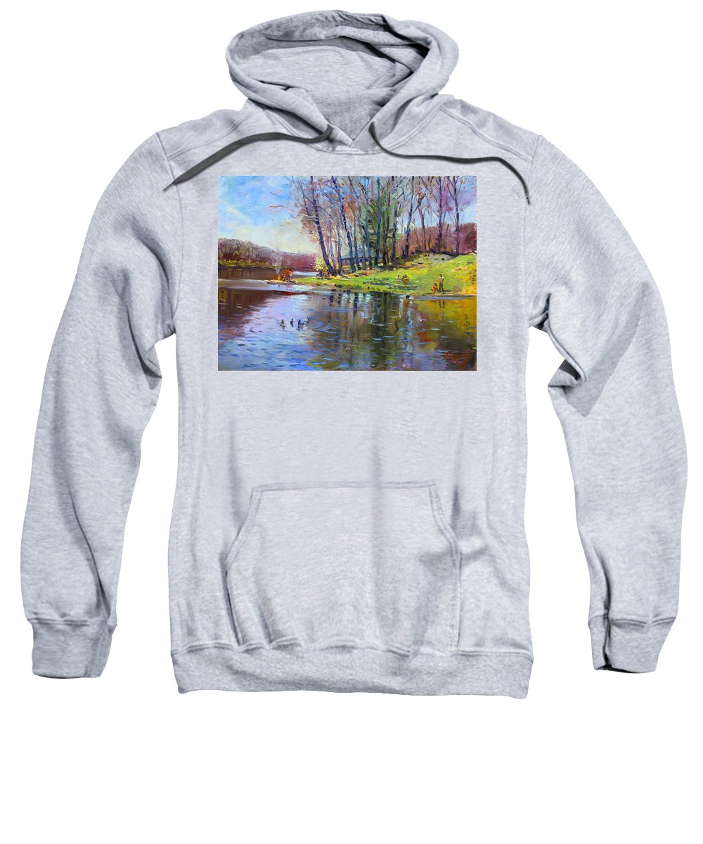 Landsape Sweatshirt featuring the painting Early Spring In Bear Mountain by Ylli Haruni