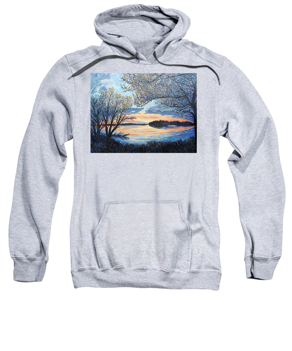Northwoods Sweatshirt featuring the painting Early Spring Sunset by James O'Connell