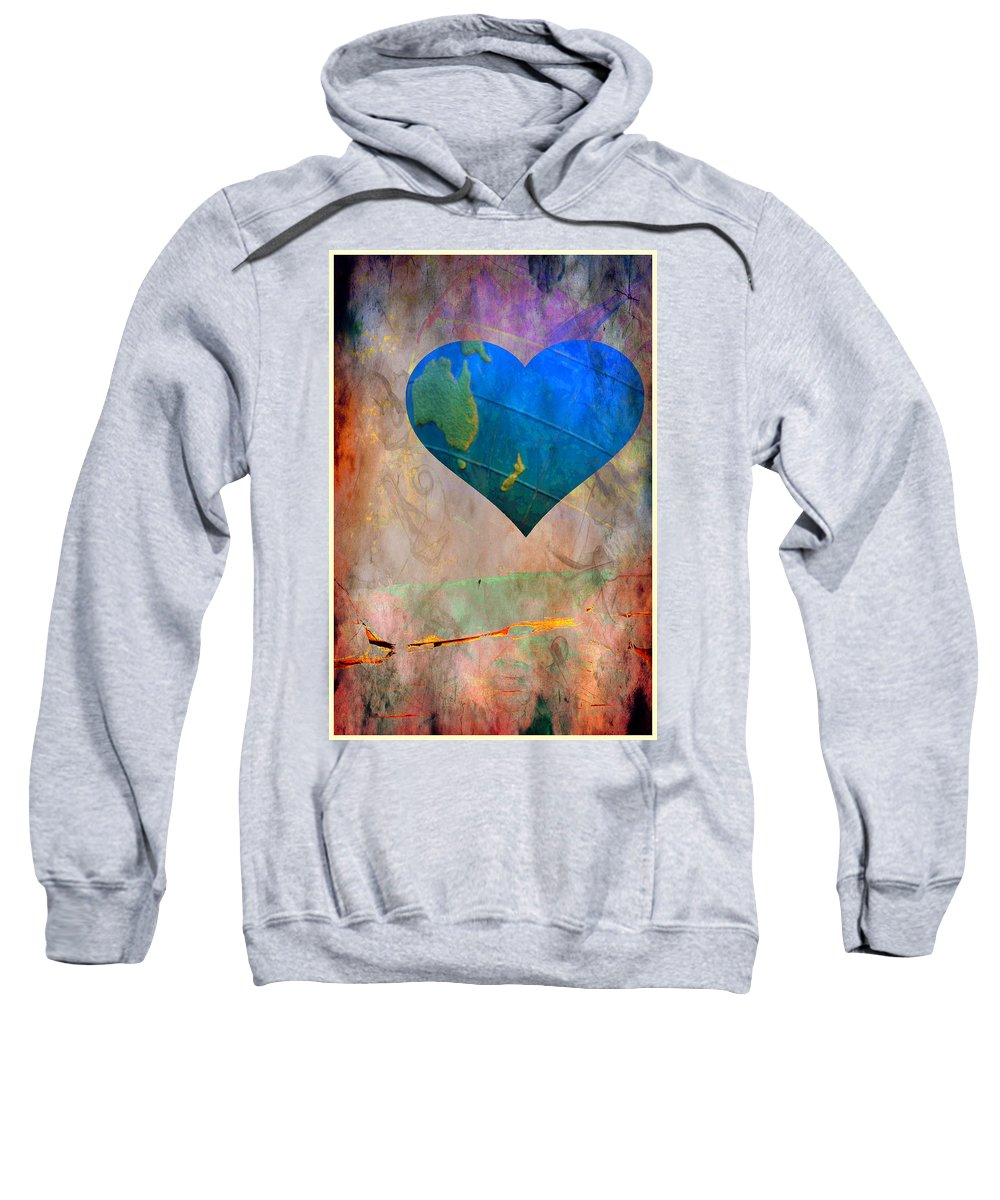Heart Sweatshirt featuring the digital art Earthy Heart by Gina Geldbach-Hall
