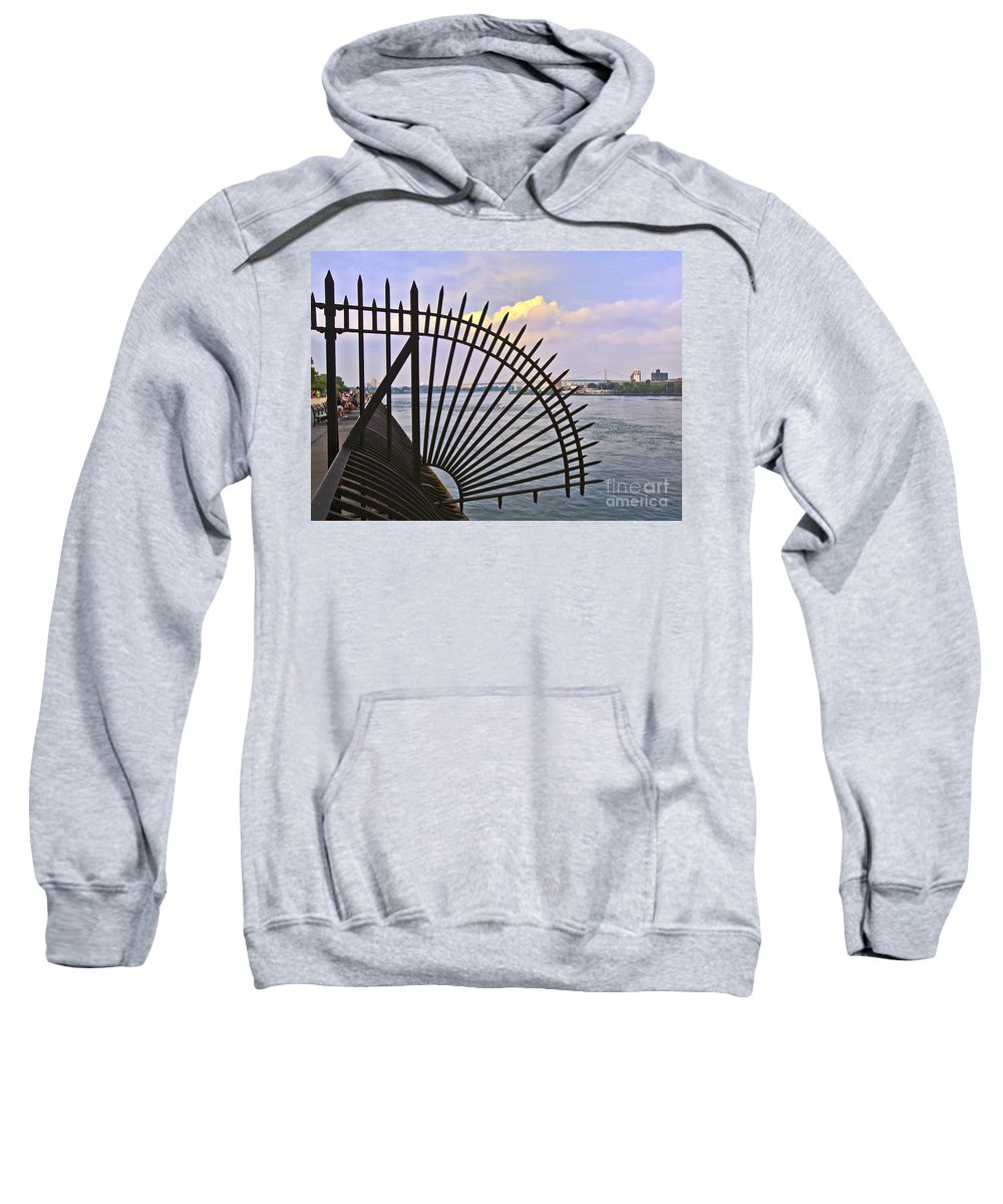 East River Sweatshirt featuring the photograph East River View Through The Spokes by Madeline Ellis