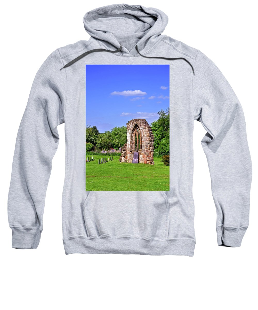 Vertical Sweatshirt featuring the photograph East Window Remains Of Old Church At Ticknall by Rod Johnson