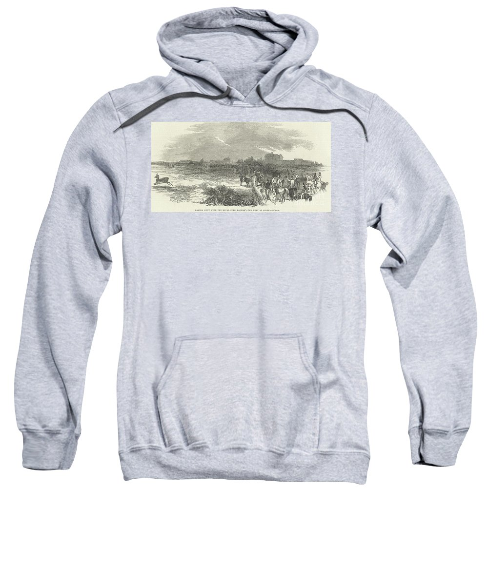 Easter Hunt Sweatshirt featuring the drawing Easter Hunt With The Royal Stag Hounds The Meet At Stoke Common by English School