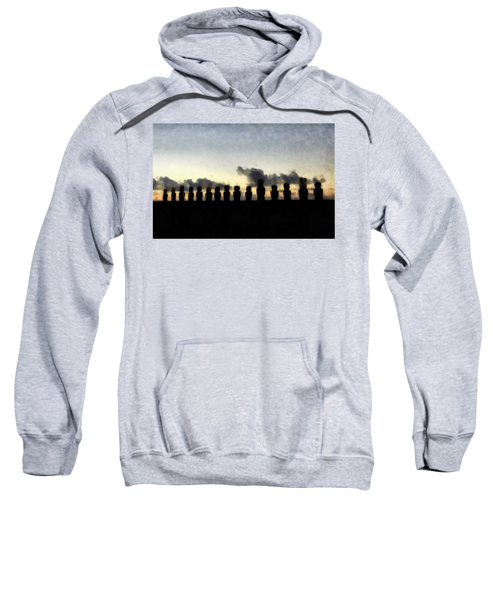 Fantasy Sweatshirt featuring the painting Easter Island by Sarah Kirk