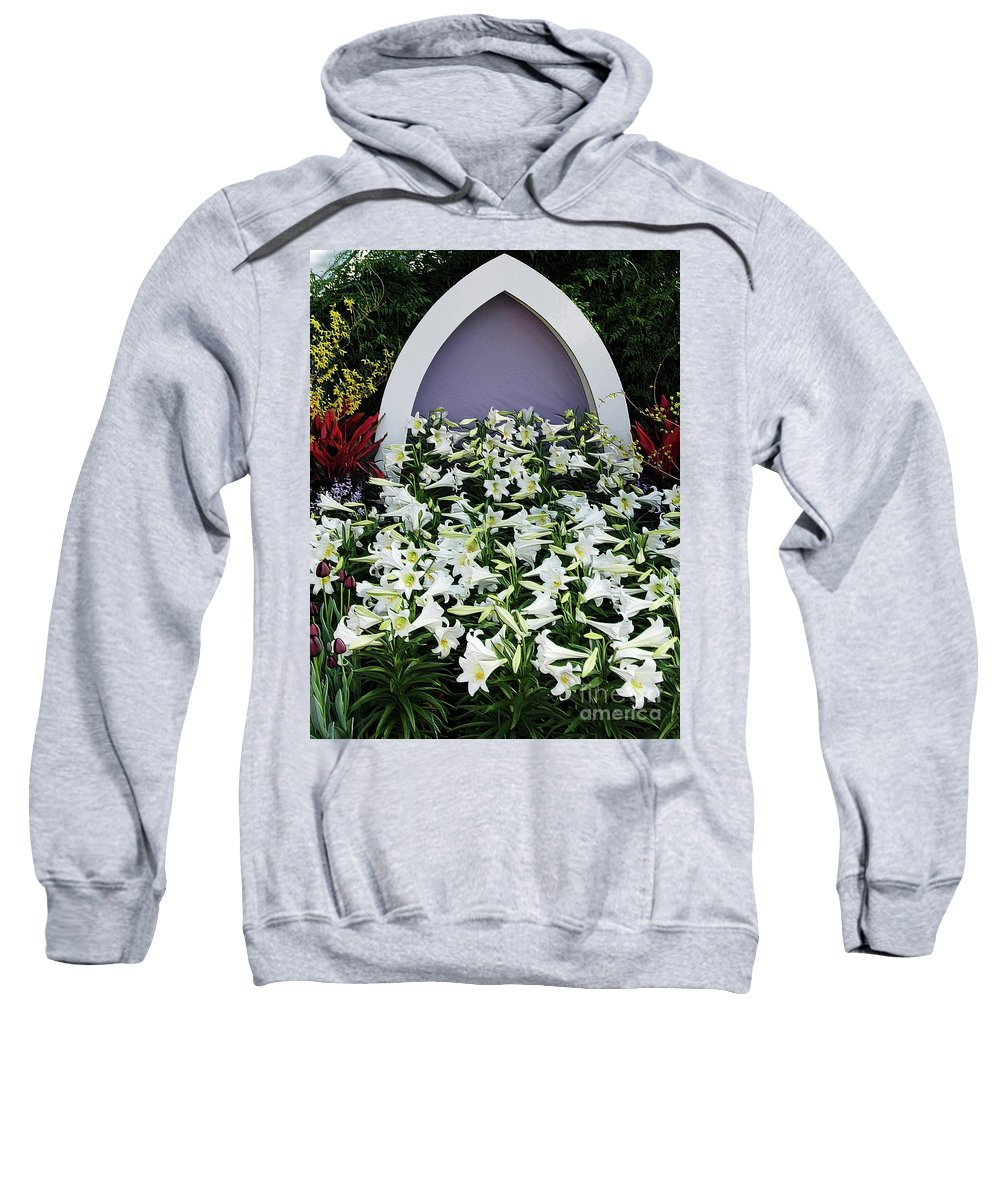 Spring Sweatshirt featuring the photograph Easter Lillies by Kathleen Struckle