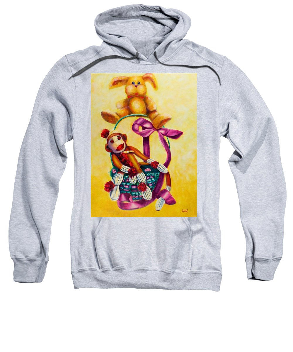 Easter Sweatshirt featuring the painting Easter Made Of Sockies by Shannon Grissom