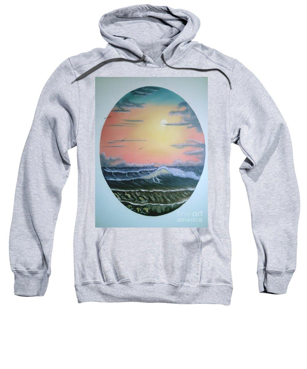 Pastel Sky Sweatshirt featuring the painting Ebb Tide by Jim Saltis